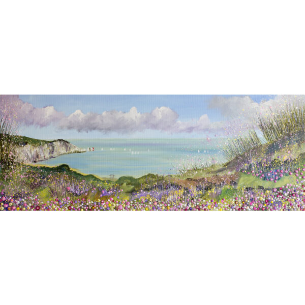 this painting depicts the view of the needles from Headon Warren on the Isle of Wight