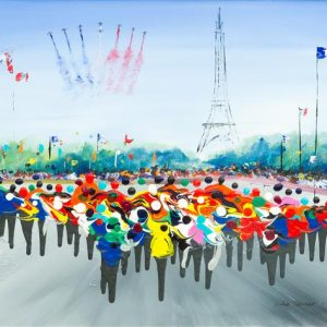 Arriving in Paris bicycle race cycling cycle le tour de France race team sky painting picture wall art print