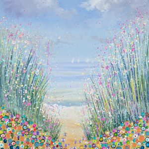 orange flowerscape seascape beach wall art original painting
