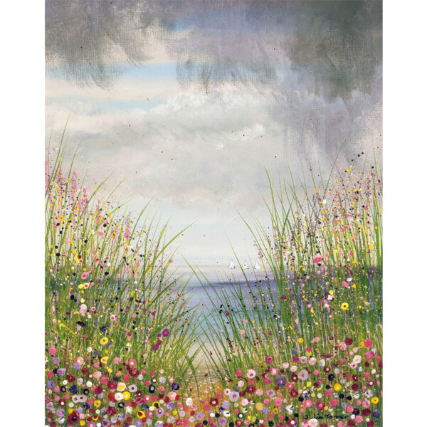 this painting depicts wildflowers by the seaside