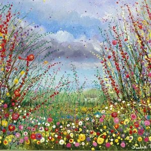 wild flower meadow flowerscape flower field floral meadow wall art painting picture fine art print artwork red yellow