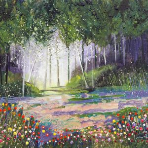 woods woodland painting spring pink flowers bluebells landscape trees wall art painting original picture print artwork