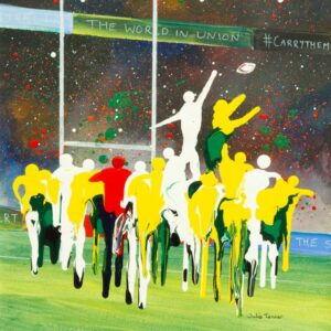 England V Australia rugby line out painting wall art print