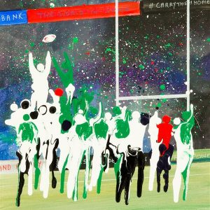 five nations England V Ireland rugby line out painting picture wall art print