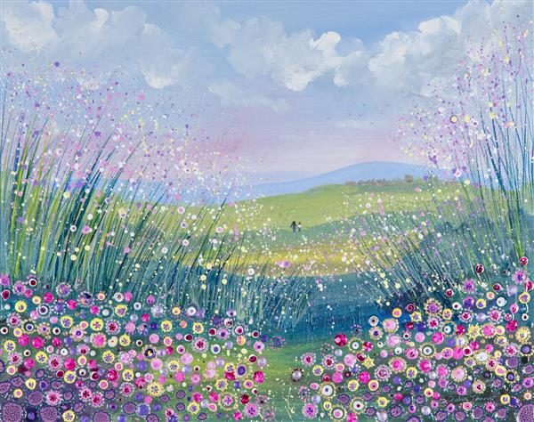 evening stroll wildflower meadow picture painting print wall art original painting field of flowers hand in hand walking in the countryside
