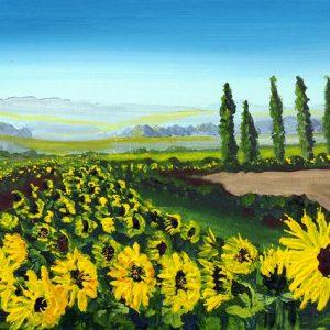 sunflower meadow field painting art print yellow flowers Tuscany