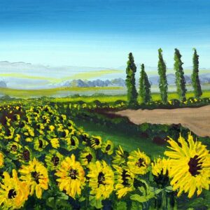 sunflower meadow field painting art print yellow flowers Tuscany