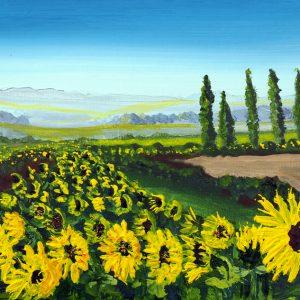 greetings card art print sunflower wall art