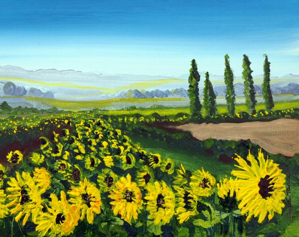 wild flower flower landscape yellow sunflowers wall art painting picture fine art print artwork