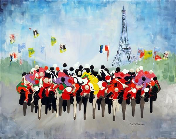 Le Tour de France cycle race bicycle cycling painting picture wall art print abstract