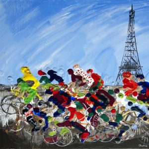 le tour de France bicycle cycling racing race yellow jersey road race Paris sport wall art painting original picture fine art print artwork