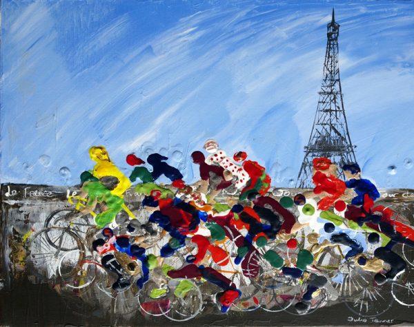le tour de France bicycle cycling racing race yellow jersey road race Paris sport wall art painting original picture fine art print artwork