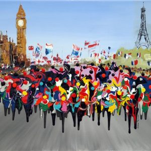 London to Paris - Fine Art Print cycling cycle race bicycle picture painting print