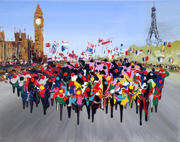London to Paris art print cycle road race picture