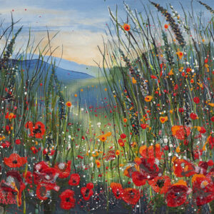 poppy meadow field red landscape floral flowerscape wildflowers wall art painting picture fine art print artwork