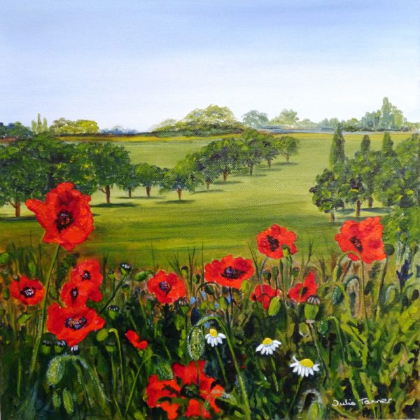 field of poppies poppy meadow red poppies wildflower meadow royal horticultural society wall art painting picture fine art print artwork