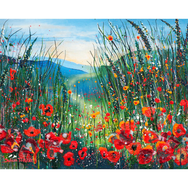 This is an art print from an original painting that depicts a poppy meadow. It is available as a mounted fine art print and also framed and as glass tablets, coasters and greetings cards.