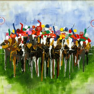 flat race jockeys horses galloping race racing acrylic painting sport wall art painting picture fine art print artwork