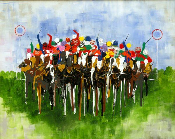 flat race jockeys horses galloping race racing acrylic painting sport wall art painting picture fine art print artwork