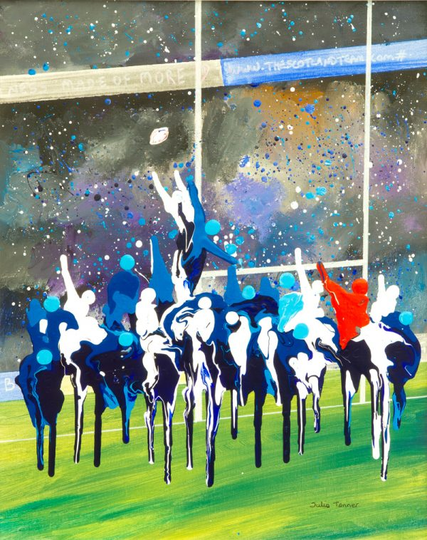 six nations rugby union line out calcutta cup grand slam original wall art painting picture fine art print artwork