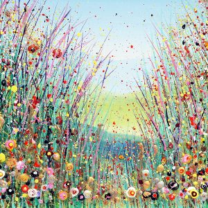 wildflower meadow painting flower meadow landscape sunlit floral painting wall art picture fine art print artwork
