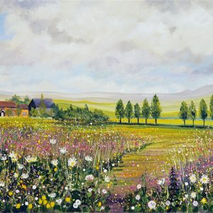 flower meadow floral field wildflowers pink white daisies nettles wall art painting picture fine art print artwork