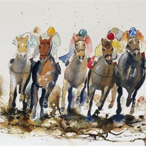 horse racing horses jockeys galloping race painting picture wall art print