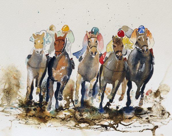 horses galloping jockeys silks watercolour print original picture artwork wall art sport grand national aintree