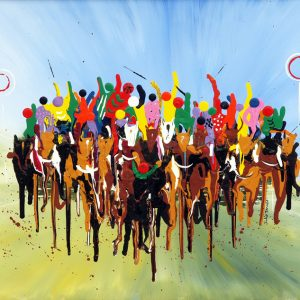 horses galloping race jockeys abstract acrylic painting sport art wall art picture fine art print artwork aintree