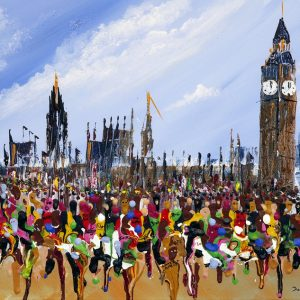 marathon runners running houses of parliament sport art original wall art painting picture fine art print artwork