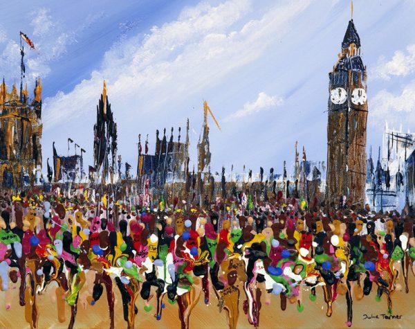 marathon runners running houses of parliament sport art original wall art painting picture fine art print artwork