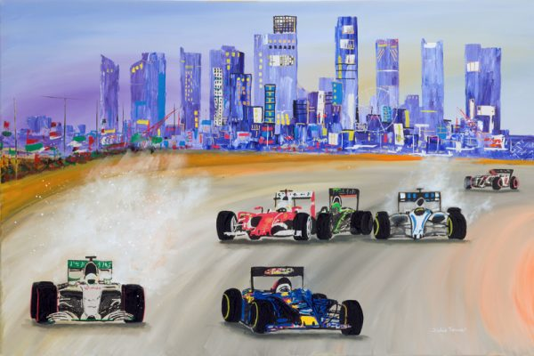 race racing cars street circuit sky scrapers night acrylic abstract sport wall art painting original picture print artwork