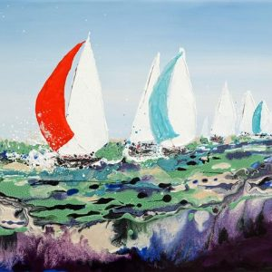 sailing sea yacht race boat painting picture wall art print