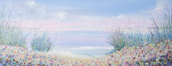 seaside picture floral landscape sea boats print painting wall art pastel colour buy art flower meadow