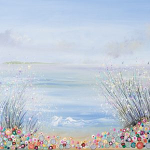 flower meadow seascape coastal painting picture print wall art floral landscape