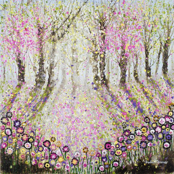 spring woods painting picture print wall art pink blossom pastel flower