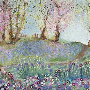 spring blossom original painting woods bluebells