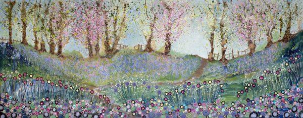spring blossom original painting woods bluebells