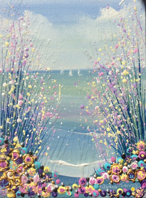 flower seaside acrylic painting
