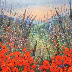 poppy meadow acrylic painting