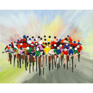 this painting depicts a group of cyclists racing to the finish line in a blur of speed and colour.