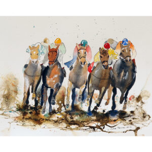 This image depicts a horse race that I painted using watercolours.