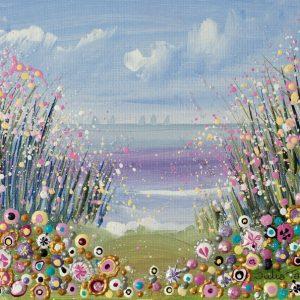 floral seascpe flowers original painting