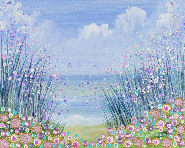 floral seascape painting artwork