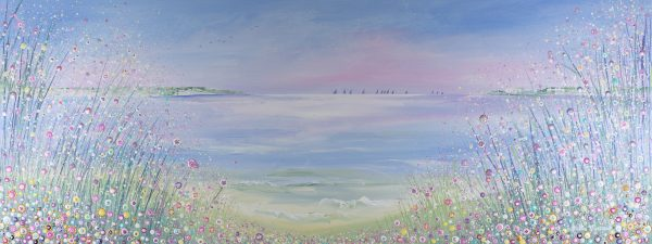 floral seascape artwork pink sky sunrise