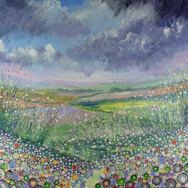 landscape sheep flowers footpath distant village flowerscape artwork