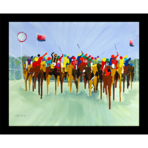 abstract art horse race tablet glass placemat sport
