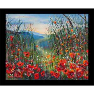 poppies fine art print in a glass table mat art mats