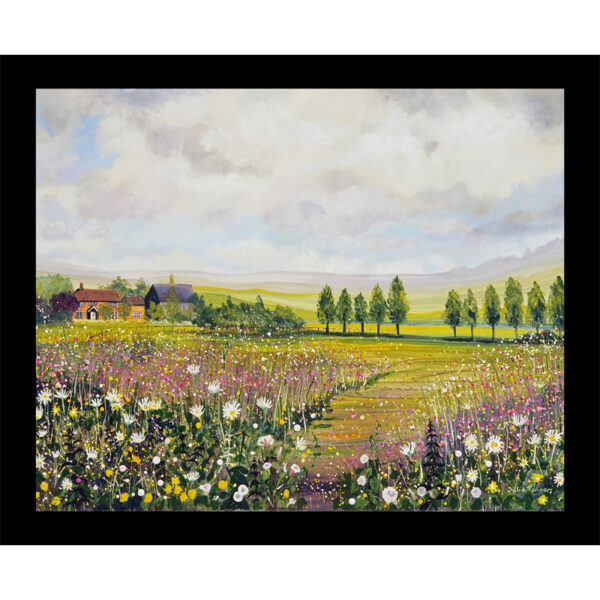 English landscape table mat art wildflower meadow country cottage