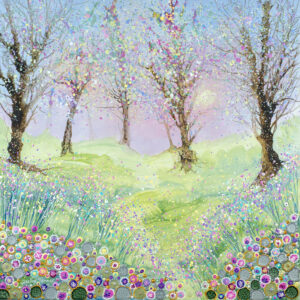 This is a print taken from an original painting that depicts a woodland in the early morning. The sky has shades of pink in it and in the foreground there is a carpet of flowers that I painted with acrylic paint.
